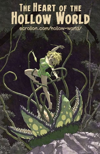 Twen and the carnivorous plant from The Heart of the Hollow World by Doug Lefler