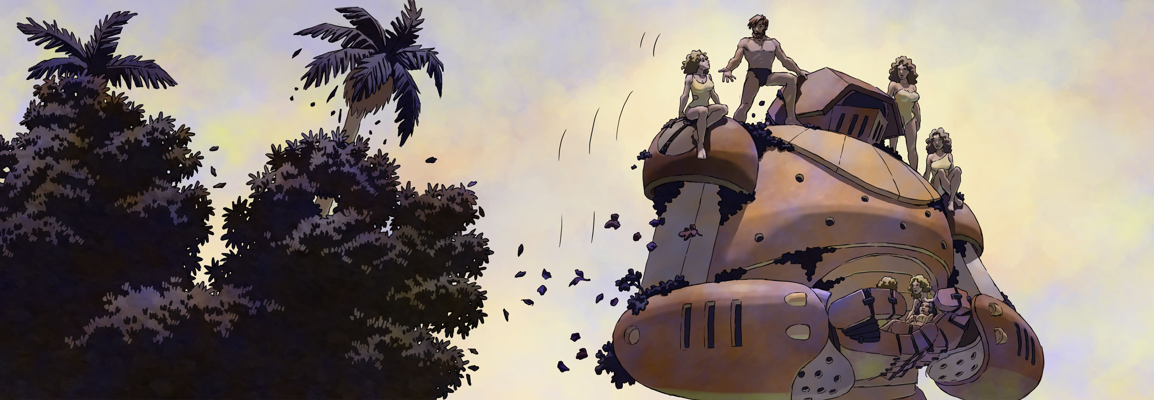 Emery and his new friends ride on a giant robot