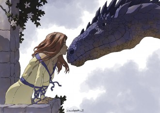 Girl kissing Dragon