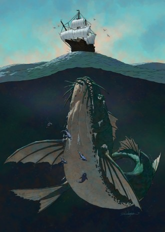 Enormous sea monster investigates ancient sailing ship