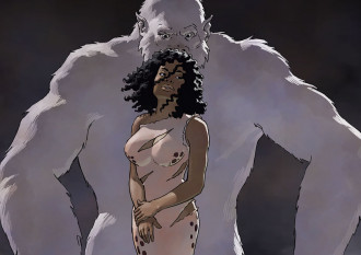 "Pru and white ape from The Heart of the Hollow World #19 ""Breach"""