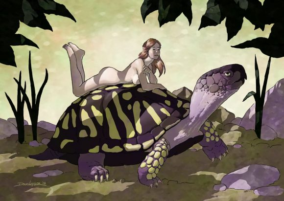 Girl riding a tortoise