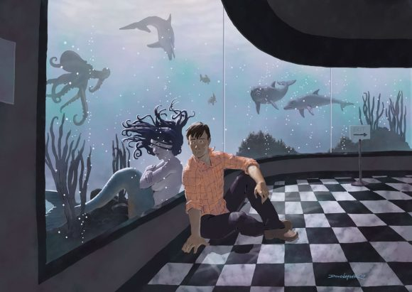 Boy with mermaid in aquarium.